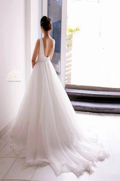Simple but elegant A-line wedding dress. Code by MeeraMeeraDresses