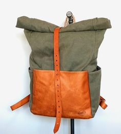 Highwayman Waxed Canvas Rolltop Backpack | A fine companion for the traveler, urban commuter or outdoorsm... | Backpacks