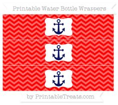 Free Red Chevron Nautical Water Bottle Wrappers