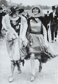 """Scanned from the book """"Decades of Fashion"""". Click image for 772 x 1123 size.    """"At Ascot in 1928 the woman on the right has chosen to wear a softer, more elegant dress with sheer and floral detailing similar to the picture dresses fashionable at the beginning og the Twenties. Her wide straw hat is more suited to this look than a sleek cloche might be."""""""