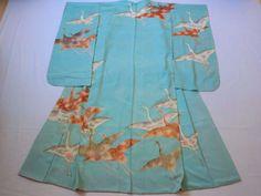 Japanese Vintage Kimono Silk Light Blue Crane P120731 | eBay