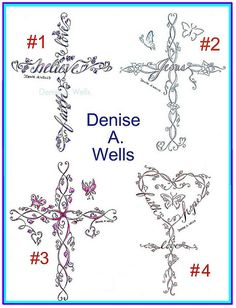 A set of 4 of my most popular crosses so far.they all feature different details such as butterflies, leaves, hearts, flower buds & my vine designs and some have my flower font incorperated into the crosses also. I have been designing lettering fo Elegant Tattoos, Feminine Tattoos, Girly Tattoos, Pretty Tattoos, Unique Tattoos, Pretty Cross Tattoo, Feminine Cross Tattoo, Vine Tattoos, Flower Tattoos