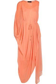 Unusual cut and fabric - special dress Saloni|Lisa draped Swiss-dot chiffon maxi dress|NET-A-PORTER.COM