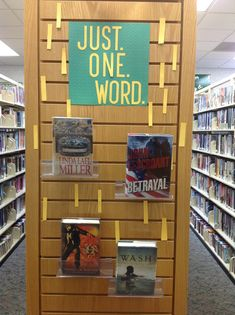 Just one word book display. Public library book displays (no link, just pic) Centralia Public Library, Centralia MO Teen Library Displays, Library Themes, Library Activities, Library Design, Library Books, Library Ideas, Teen Library Space, Middle School Libraries, Public Libraries