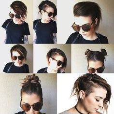 I really wish my hair was thicker because I love this undercut style Bob With Undercut, Hair Undercut, Pompadour Hairstyle, One Side Shaved Hairstyles, Pixie Haircut, Hairstyles Haircuts, Pretty Hairstyles, Pigtail Buns, Shorter Hair