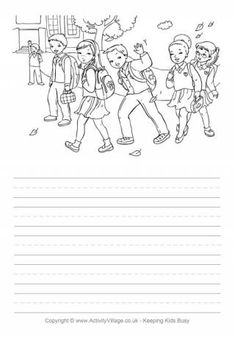 It is great to be able to walk to and from school if you can, and have fun with your friends. Kids can write all about it, make up a story, or describe what they see in the picture on this fun walking to school story paper. Composition Writing, Picture Composition, Narrative Writing, Writing Skills, Creative Writing Worksheets, Creative Activities For Kids, Writing Activities, Free Kids Coloring Pages, Coloring For Kids