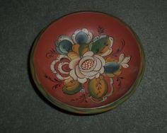 Vintage 1996 Hand Painted Flowers German Folk Art Style Wooden Trinket Bowl, GUC