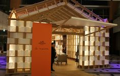 Luxury Paper Pop-Ups Hermes + Shigeru Ban Pavilion is an Eco-Friendly Design Shigeru Ban, Hermes, Cardboard Design, Temporary Structures, Pop Up Bar, Paper Pop, Pop Up Shops, Environmental Design, Retail Design