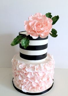 blush and black wedding cake