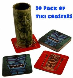 20 Tiki Bar Hawaiian Drink Cocktail Coasters by Tikizone. $11.99. Pack of 20 pulpboard tiki bar coasters. Each side has a different tiki design. A Tikizone exclusive!. Product Features  * 20 Pulp Board drink coasters * Each Side has a different image! * Just like real bar coasters!  Product Description A Tikizone exclusive! This is a great addition to your tiki bar, real, genuine, tiki coasters! This is a 20 pack of pulpboard coasters, each printed with one of ...