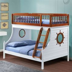 What a great way to bring joy to your little sailor's face with the Fara Bunk Bed. This twin over full bunk bed features an easy access guard rail with oak and white finish. Has a wheel design on both
