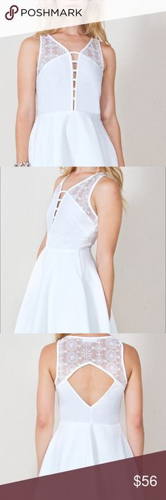 New Arrival. Beautiful Dress Look white hot in this dress with a super deep V-neckline. Features a lace inset and a cutout in back for a sweet touch. Invisible side zipper closure. Pair it with dainty necklaces and a leather biker jacket to complete the look. Amazing comfort amazing quality. Boutique Dresses Mini