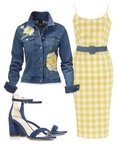 """Yellow Rose Denim Jacket"" by hope-houston ❤ liked on Polyvore featuring Kenneth Cole and Isa Arfen"