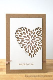 handcrafted card from little things: To the birthday of a loved one ... kraft base ... main panel ivory ... negative space off the edge die cut heart ... backed with die cut lacy flower (Hero Arts Fancy Die Chrysanthemum) ....  small stamped sentiment and a double wrap of brown string  finish the look ... delightful card!!!