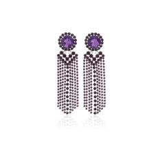 Alessandra Rich     Amethyst Fringe Earrings (€475) ❤ liked on Polyvore featuring jewelry, earrings, amethyst jewellery, fringe earrings, amethyst jewelry, fringe jewelry and alessandra rich