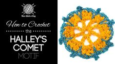 How to Crochet the Halley's Comet Motif/This stitch creates a dense but delicate pattern with a lot of texture. The halley's comet motif stitch would be great for afghans, baby blankets, and blankets!