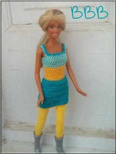 Crochet Barbie Clothes Dress Turquoise by BarbieBoutiqueBasics