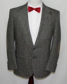 STAFFORD Mens 40 R Gray Wool Tweed Suede Elbows Hipster Sport Coat Blazer 2 Btn #Stafford #TheSmartShoppe