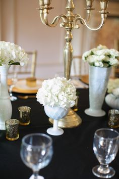 Black & Gold 30th Birthday party. Classy table setting for a sophisticated 30th birthday party.