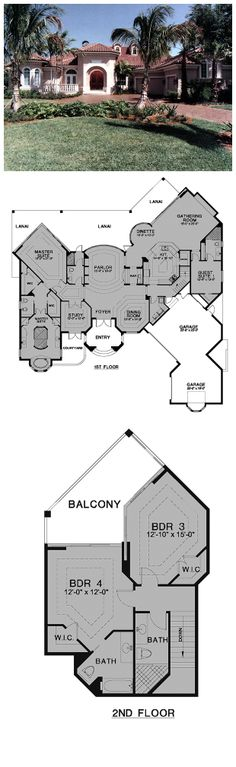 House Plan 58902 - Florida Style House Plan with 3873 Sq Ft, 4 Bed, 5 Bath, 3 Car Garage Best House Plans, Country House Plans, House Floor Plans, Florida Style, Florida Home, Open Space Living, Living Area, Florida House Plans, Courtyard House Plans