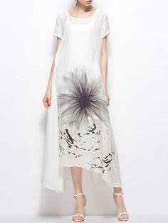 Shop Maxi Dresses - White Crew Neck Short Sleeve Linen Floral Maxi Dress online. Discover unique designers fashion at StyleWe.com.