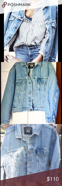 "TRENDY OVERSIZED JEAN JACKET, Size Medium Oversized light washed keep it cool denim jacket.  Chest measures 22"" lying flat and the jacket is approx 23"" long.   Dry trendy and in EUC. Jackets & Coats Jean Jackets"