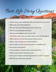 60 ideas family history questions free printable for 2019 Oral History, History Teachers, Nasa History, Ancient History, Journal Questions, Family History Book, Journal Writing Prompts, Personal History, History Projects