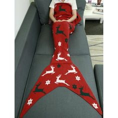 Christmas Deer Knitted Wrap Mermaid Blanket