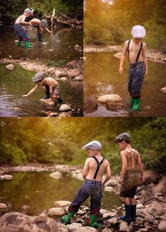 Boys playing in a creek. Fishing for crayfish. The hats, the suspenders, the light :) ~Songbird Photography Little Boy Photography, Fishing Photography, Summer Photography, Children Photography, Photography Poses, Family Photography, Chalk Photography, Sibling Photo Shoots, Boy Photo Shoot