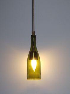 Repurposed Wine bottle hanging lamp. $45.00, via Etsy.