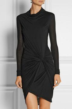 HELMUT LANG Wrap-effect Micro Modal-jersey dress  NET-A-PORTER