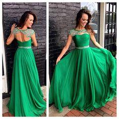 Charming Green Prom Dress,A Line Long Chiffon O-Neck Prom Dress,Backless Prom Dress,Chiffon Prom Dress,Short Sleeve Prom - Prom Dresses Design Short Sleeve Prom Dresses, Prom Dresses 2016, Long Prom Gowns, Backless Prom Dresses, Prom Party Dresses, Party Gowns, Prom Long, Chiffon Dresses, Pageant Gowns