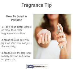 To sample the true scent of the fragrance you're testing, wait until it has dried on your skin before smelling. The first scent you smell as soon as a fragrance is sprayed is the top note, which disappears after a few minutes anyway.