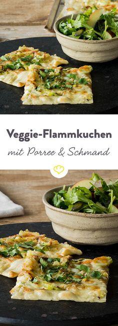 Die Spezialität aus dem Elsass muss ja nicht immer klassisch mit Schinken und Zwiebeln zubereitet werden. Wie wäre es mit Schmand und Porree?