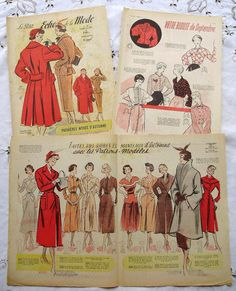 Vintage 1950's French Fashion Images & Illustrations by ChicEtChoc, $5.00
