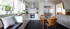 50's 60's Retro Kitchen, Danish design, Kvänum. Scandinavian // Nordic atmosphere. Arne Jakobsen furniture, Dark floors, cosy and stylish.