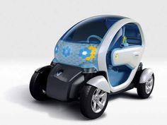 O compacto 100% elétrico Renault Twizy possui dois lugares, dipostos um atrás do outro. O pequeno urbano é alimentado por baterias de íons de lítio, que lhe garantem autonomia de 100km.