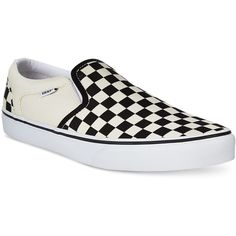Vans Men's Asher Canvas Slip-On Sneakers ($50) ❤ liked on Polyvore featuring men's fashion, men's shoes, men's sneakers, black checkered, mens canvas sneakers, mens slip on sneakers, mens canvas slip on shoes, mens black shoes and mens canvas shoes