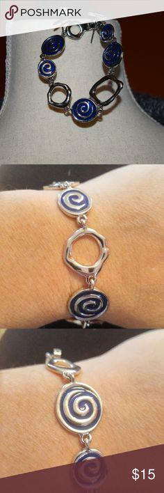"""Lia Sophia bracelet Silver links and blue swirl links 7.25"""" long Lia Sophia Jewelry Bracelets"""