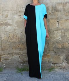 NEW SS16 Maxi dress Black and Turquoise di cherryblossomsdress