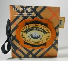 Spider Cider Tea bag holder, double pouch inside, one for tea bag and one for a mini card