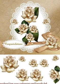 Beautiful Cream Roses on Craftsuprint designed by Marijke Kok - A lovely design with gorgeous roses, lace and a bow. - Now available for download!
