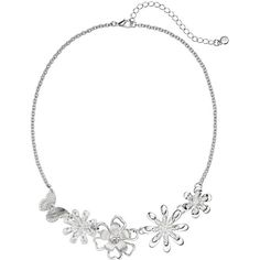 LC Lauren Conrad Flower & Butterfly Necklace (£12) ❤ liked on Polyvore featuring jewelry, necklaces, multicolor, silver tone necklace, multi color necklace, monarch butterfly necklace, butterfly necklace and flower jewelry