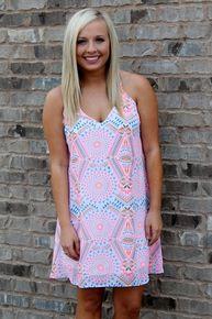 Colorful neon tribal print dress Amour Boutique