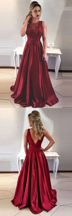 Red satin lace v back gown