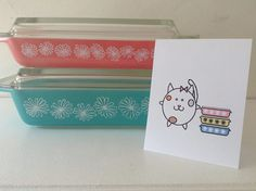 Vintage Pyrex Note Cards Set of 5 Kitty Cat FREE SHIPPING (usa)