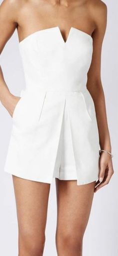 Topshop white textured bandeau skort tailored fashion playsuit jumpsuit