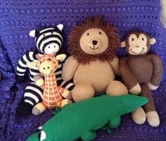 Love this idea----Hand knitted toy soft toy plush toy stuffed by Georgebearcompany, $120.00---- You can do the whole zoo for a little one!