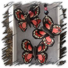 Red polymer clay butterfly pendant and earring set
