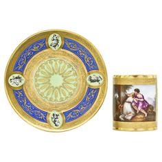 Vienna tea cup and saucer, Niedermayer, neoclassical scene